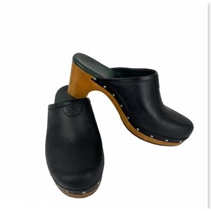UGG Abbie Black Leather Studded Mule Clogs